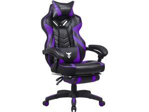 Zeanus Purple Gaming Chair for Adults, Big and Tall Computer Gaming Chair, Gaming Chair with Massage, Ergonomic Gaming Chair with Footrest, Reclining Desk Gaming Chair, High Back Racing Chair