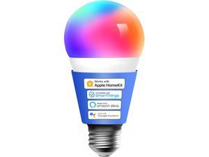 Smart Light Bulb, meross Smart WiFi LED Bulbs Compatible with Apple HomeKit, Siri, Alexa, Google Assistant and SmartThings, Dimmable E26 Multicolor 2700K-6500K RGB, 810 Lumens 60W Equivalent, 1 Pack