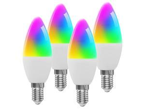 JELUMP WiFi LED Smart Candelabra Bulbs E12 Base, Color Changing and Dimmable Smart Light Bulb, Compatible with Alexa and Google Home Assistant, Tunable White Chandelier Light Bulbs 350lm , 4 Pack