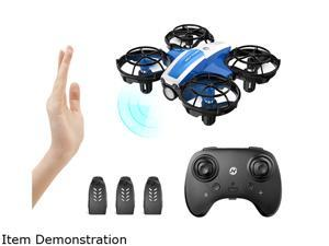 HolyStone HS330 Mini Drone Hand Operated + Remote Control Quadcopter With 3 Batteries Beginner-Friendly Propeller Guards