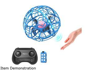 Holyton HT06 Hand-Operated + Remote Control Flying Ball Mini Drone with LED  Light,Blue