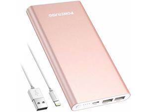 Poweradd Pilot 4GS Power Bank 12000mAh 8-Pin Input Portable Charger External Battery Pack with 3A High-Speed Output Compatible with iPhone, iPad, iPod and More - Rose Gold