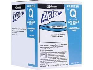 "Double Zipper Freezer Bags 1 qt 2.7 mil 7"" x 7.75"" Clear 300/Carton 696187"