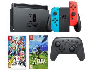 Nintendo Switch Neon, Switch Pro Controller, Super Smash Bros, Legend of Zelda Game Bundle