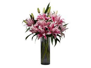 Stargazer Barn -Pink Rose Lilies - 10 stems with Vase