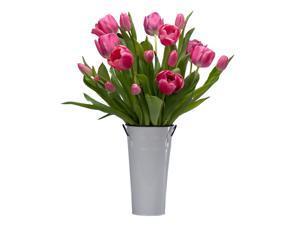 Stargazer Barn -15 Pink Tulips with Vase