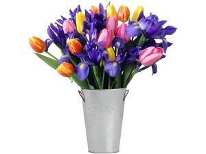 Stargazer Barn -Tulip & Iris bouquet with Vase