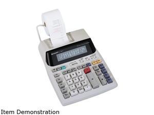 Sharp EL1801V Two-Color Printing Calculator, 12-Digit Fluorescent, Clock/Calendar Key, 2-color Printing (Black/Red)