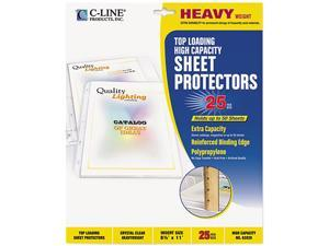 C-line 62020 High-Capacity Sheet Protectors, Heavy Gauge, Letter, Clear, 25/Box