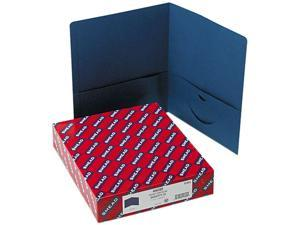 Smead 87854 Two-Pocket Portfolio, Embossed Leather Grain Paper, Dark Blue, 25/Box