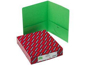 Smead 87855 Two-Pocket Portfolio, Embossed Leather Grain Paper, Green, 25/Box