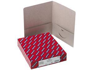 Smead 87856 Two-Pocket Portfolio, Embossed Leather Grain Heavy Paper, Gray, 25/Box
