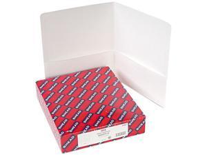 Smead 87861 Two-Pocket Portfolio, Embossed Leather Grain Paper, White, 25/Box