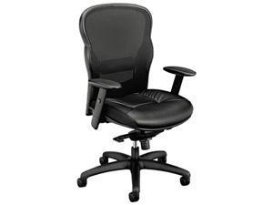 basyx VL701ST11 VL701 High-Back Swivel/Tilt Work Chair, Black Mesh/Leather