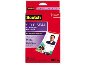 LS852G Scotch Self-Sealing Laminating Pouches, 12.5 mil, 2 15/16 x 4 1/16, ID Size, 25/Pack