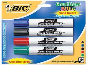 BIC DECP41-ASST Great Erase Bold Dry Erase Markers, Chisel Tip, Assorted, 4/Set