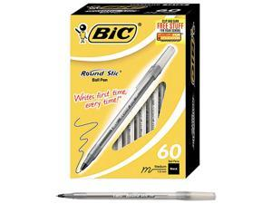 BIC BICGSM609BK Round Stic Xtra Life Ballpoint, Black Ink, 1mm, Medium, 60/Box