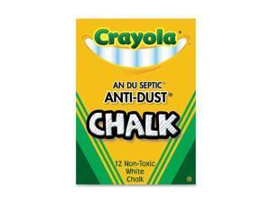 Crayola 50-1402 Nontoxic Anti-Dust Chalk, White, 12 Sticks/Box