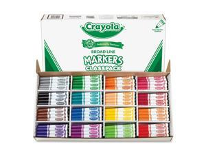 Crayola 588201 Non-Washable Classpack Markers, Broad Point, 16 Assorted Colors, 256/Box, 1 Box