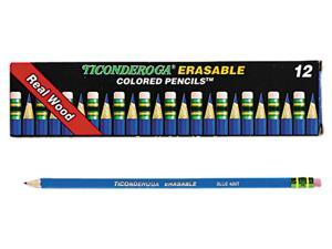 Ticonderoga 14209 Ticonderoga Erasable Colored Pencils, 2.6 mm, Blue Lead/Barrel, Dozen