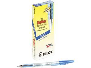 Pilot 36011 Better Ballpoint Stick Pen, Blue Ink, Fine, Dozen