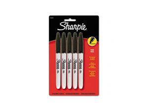 Sharpie 30665PP Permanent Markers, Fine Tip, Black, 5/Pack