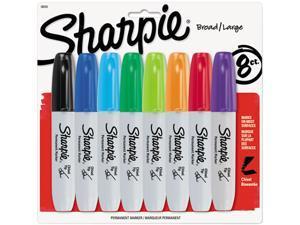 Sharpie 38250PP Permanent Marker, 5.3mm Chisel Tip, Assorted, 8/Set