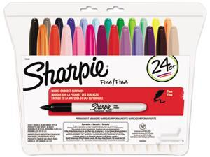 Sharpie 75846 Permanent Markers, Fine Point, Assorted, 24/Set