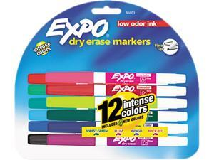 EXPO 86603 Low Odor Dry Erase Markers, Fine Point, Assorted, 12/Set