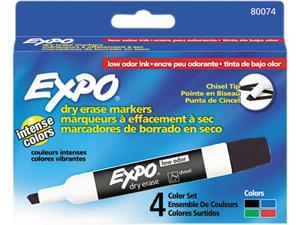 EXPO 80074 Low Odor Dry Erase Markers, Chisel Tip, Basic Assorted, 4/Set