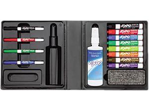 EXPO 80054 Low-Odor Dry Erase Marker, Eraser & Cleaner, Chisel/Fine, 12/Set