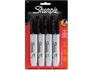 Sharpie 38264PP Permanent Markers, 5.3mm Chisel Tip, Black, 4/Pack