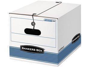 Fellowes 0002501 -Bankers Box Storage Box, Legal/Letter, Tie Closure, White/Blue, 4/Carton