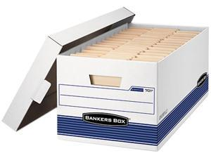 "Bankers Box 00701 - Stor/File Storage Box, Letter, Lift Lid , 12"" x 24"" x 10"", White/Blue 12/Carton"