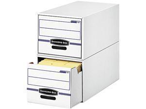 Bankers Box 00721 Stor/Drawer File Drawer Storage Box, Letter, White/Blue, 6/Carton
