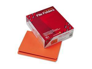 Smead 12510 File Folders, Straight Cut, Reinforced Top Tab, Letter, Orange, 100/Box