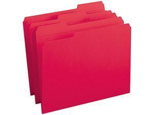 Smead 12734 File Folders, 1/3 Cut, Reinforced Top Tab, Letter, Red, 100/Box
