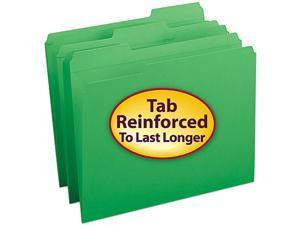 Smead 12134 File Folders, 1/3 Cut, Reinforced Top Tab, Letter, Green, 100/Box