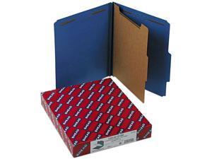 Smead 13732 Pressboard Classification Folders, Letter, Four-Section, Dark Blue, 10/Box