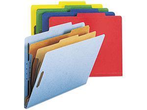 Smead 14025 Pressboard Classification Folders, Letter, Six-Section, Assorted, 10/Box