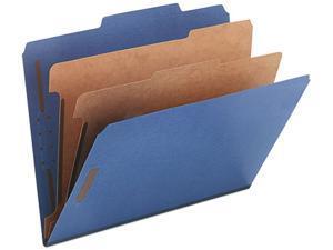 Smead 14032 Pressboard Classification Folders, Letter, Six-Section, Dark Blue, 10/Box