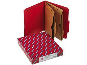 Smead 14082 Pressboard Folders, Two Pocket Dividers, Letter, Six-Section, Bright Red, 10/Box