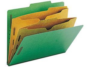 Smead 14083 Pressboard Folders with Two Pocket Dividers, Letter, Six-Section, Green, 10/Box