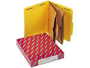 Smead 14084 Pressboard Folders with Two Pocket Dividers, Letter, Six-Section, Yellow, 10/Box