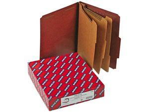 Smead 14092 Pressboard Classification Folders, Self Tab, Letter, Eight-Section, Red, 10/Box