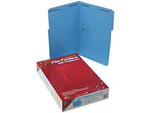 Smead 17040 Folders, Two Fasteners, 1/3 Cut Assorted, Top Tab, Legal, Blue, 50/Box