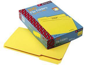 Smead 17943 File Folders, 1/3 Cut Top Tab, Legal, Yellow, 100/Box