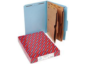 Smead 19081 Pressboard Folders with Two Pocket Dividers, Legal, Six-Section, Blue, 10/Box