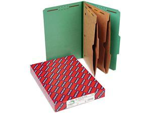 Smead 19083 Pressboard Folders with Two Pocket Dividers, Legal, Six-Section, Green, 10/Box