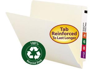 Smead 24160 Recycled File Folders, Straight Tab, Letter, Manila, 100/Box